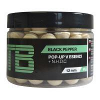 TB Baits Plávajúce Boilie Pop-Up White Black Pepper + NHDC 65 g-12 mm