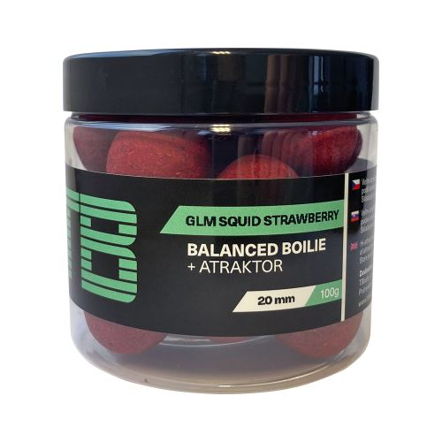 TB Baits Vyvážené Boilie Balanced + Atraktor GLM Squid Strawberry 100 g - 20 mm
